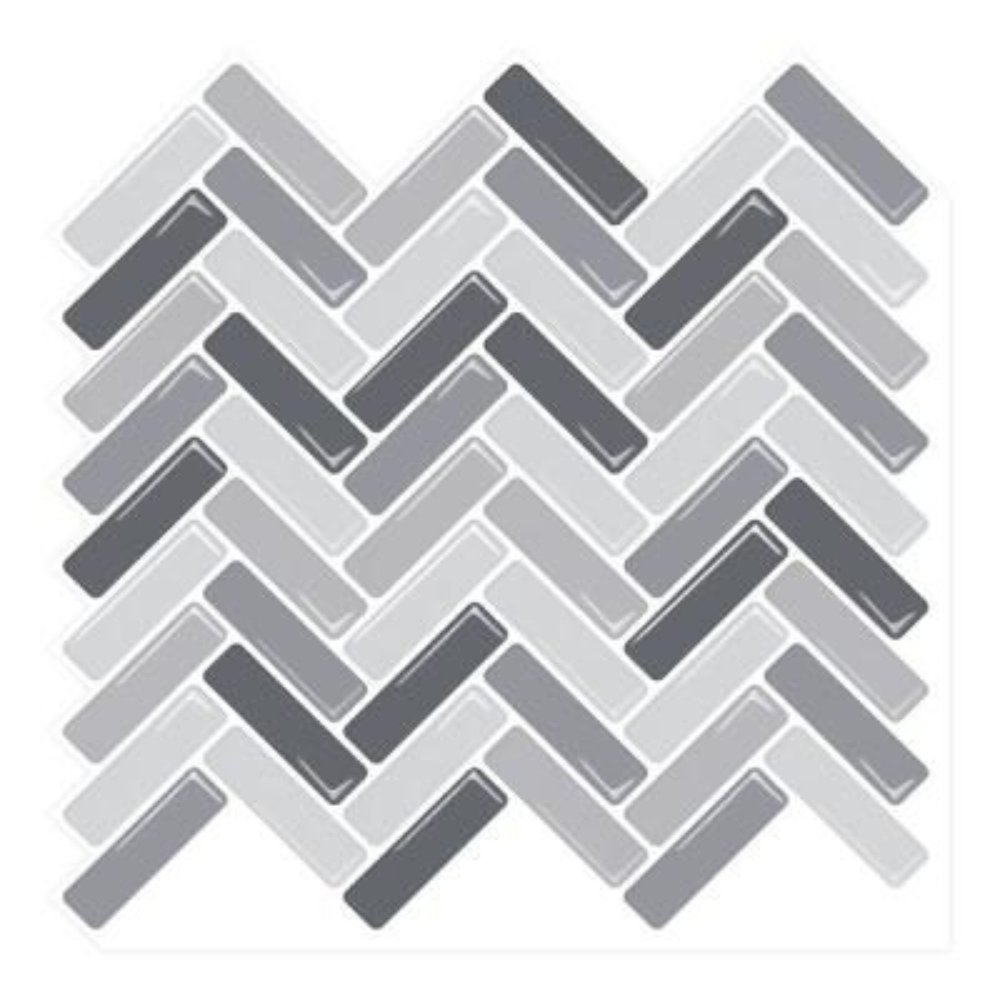 Herringbone Grigio 10 in. W x 10 in. H Peel and Stick Decorative Mosaic Wall Tile Backsplash (6 Tiles)