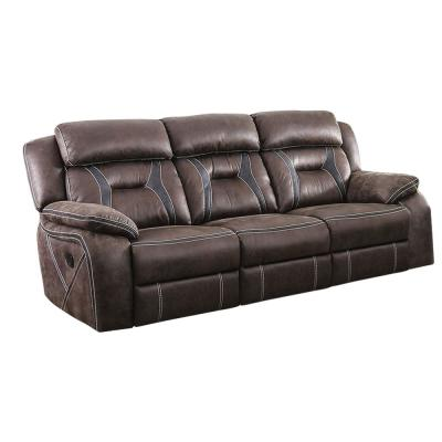 Flint 37.75 in. Brown/Black Solid Leather 3-Seat Motion Sofa with Reclining