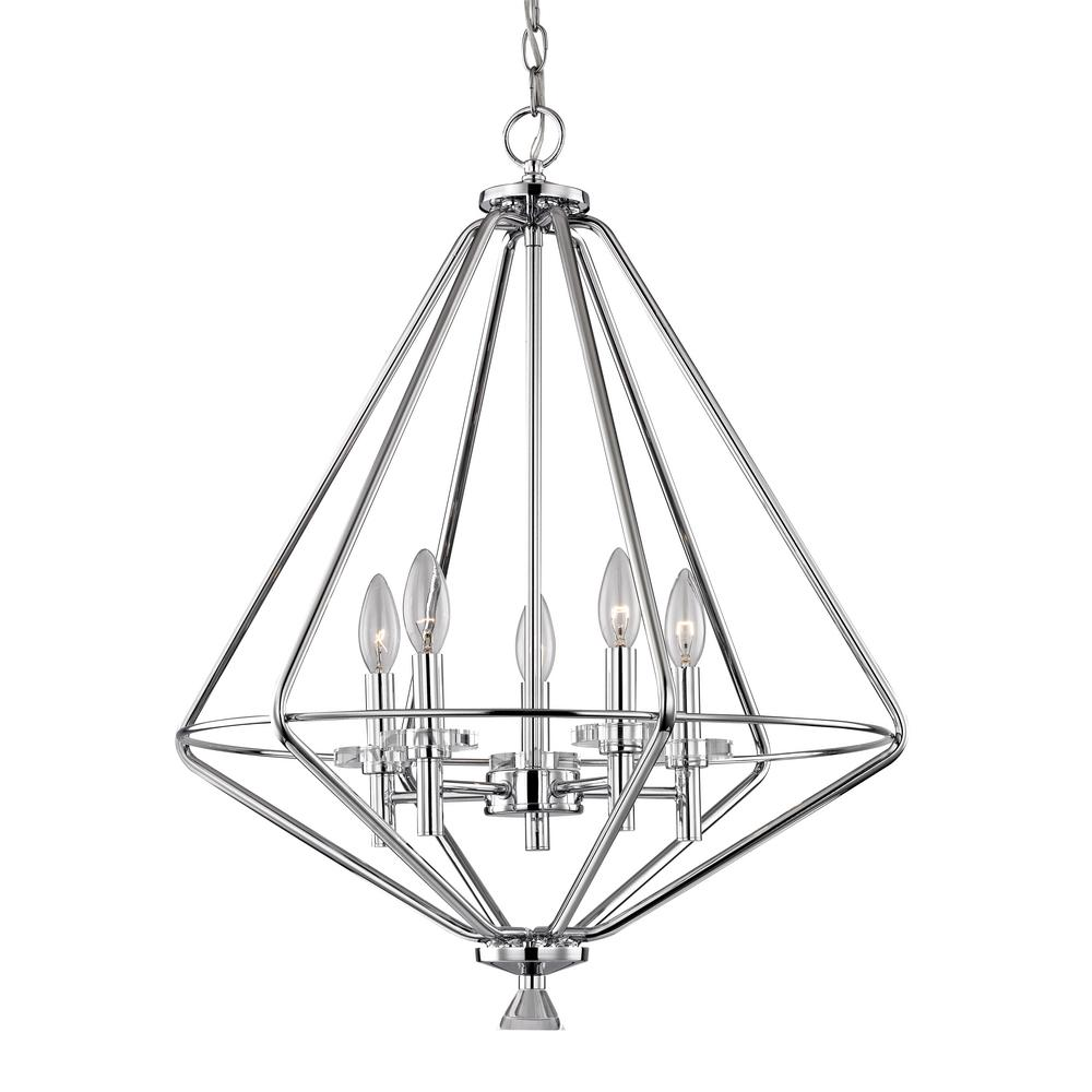 Marin 5 Light Polished Chrome Pendant With Crystal Accents