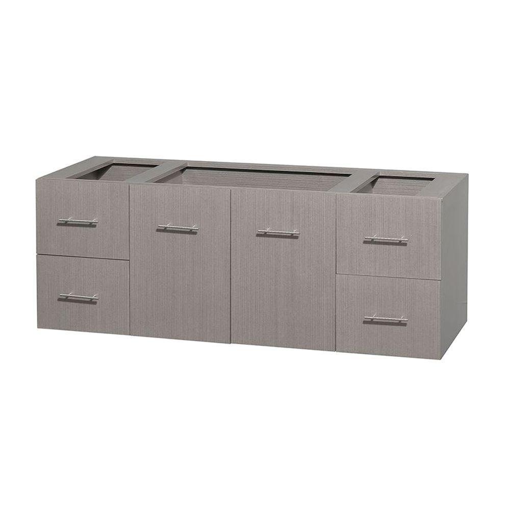 Centra 59 in. Vanity Cabinet Only in Gray Oak