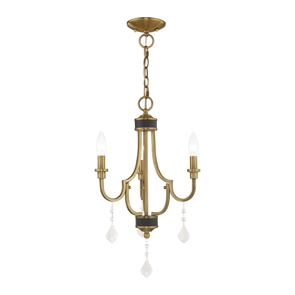Glendale 3 Light Antique Br Mini Chandelier With Crystal Accents