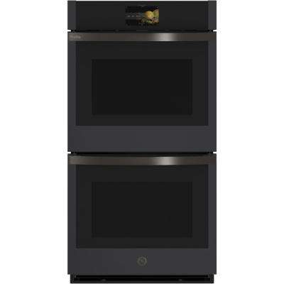 Profile 27 in. Smart Double Electric Smart Wall Oven with Convection Self-Cleaning in Black Slate, Fingerprint Resistant