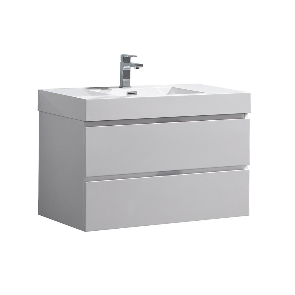 Fresca Valencia 36 In W Wall Hung Bathroom Vanity In Glossy White With Acrylic Vanity Top In White