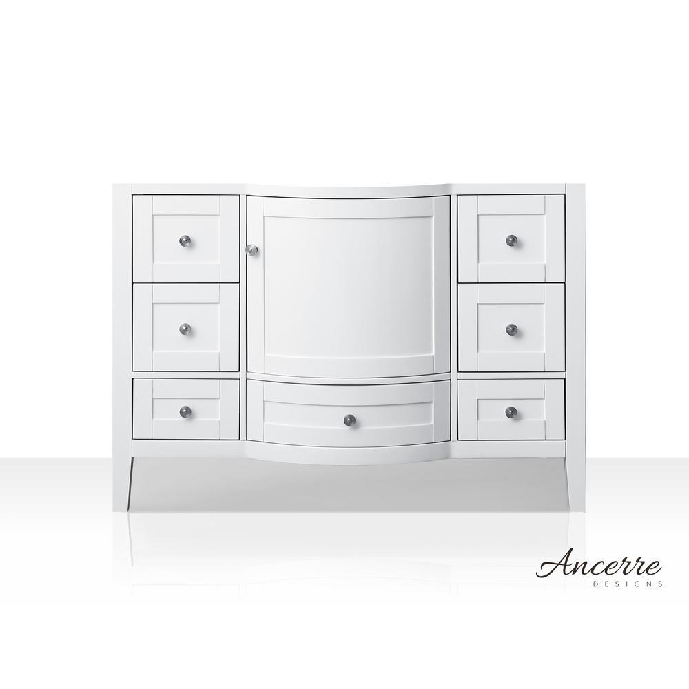 Lauren 47 in. W x 21 in. D Vanity Cabinet Only in White