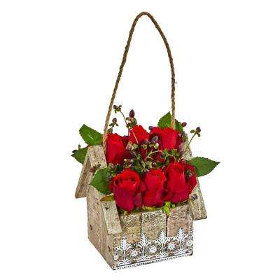Indoor Elegant Rose Artificial Arrangement in Birdhouse Hanging Planter