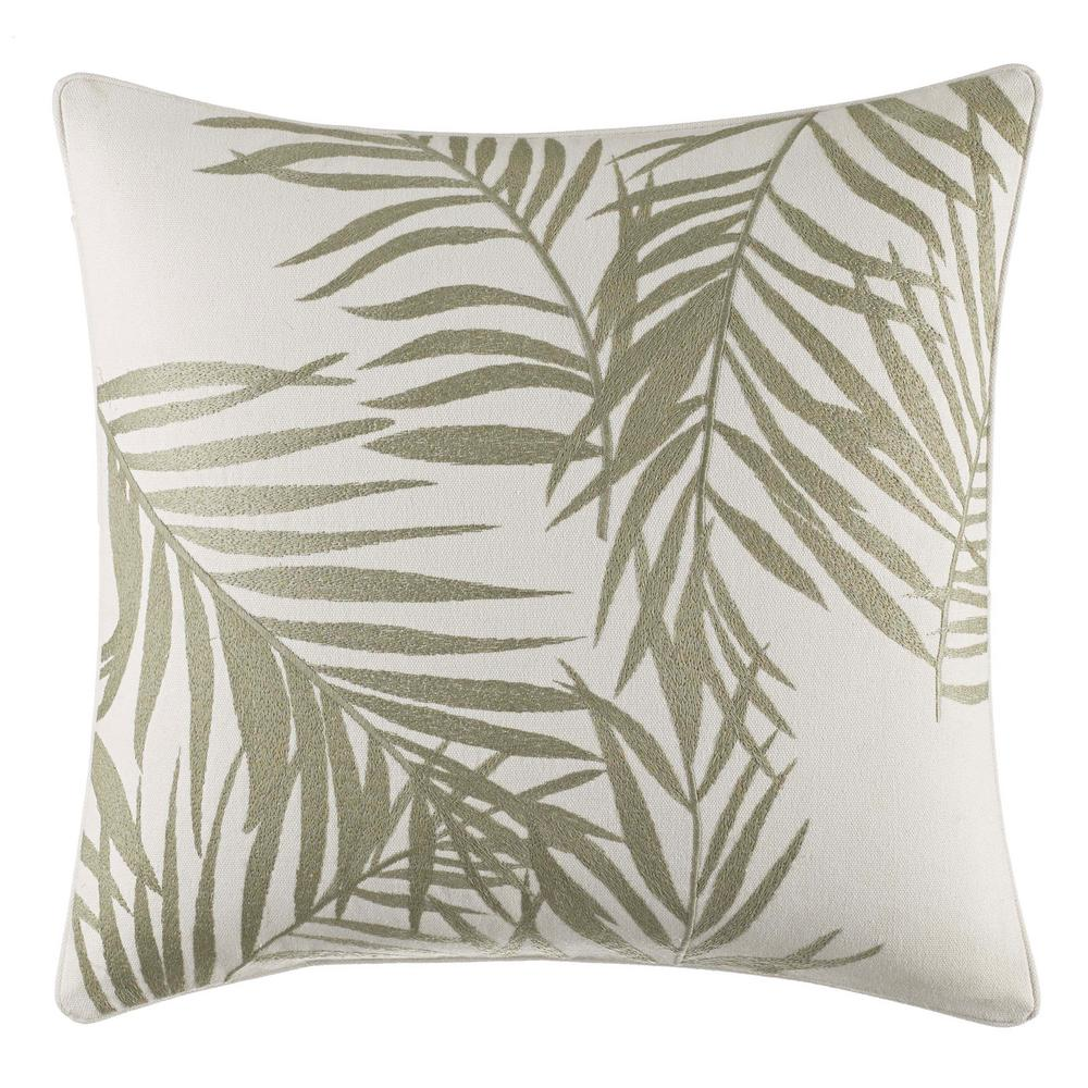 Palms Away Leaf Embroidery 16 in. x 16 in. Throw Pillow, Light Beige Bring new life to your bedding set with the Tommy Bahama Palms Away Embroidered Throw Pillow. This all-cotton pillow features embroidered sage leaves on a crisp white ground. This coastal pillow adds an authentic signature touch to your bedroom decor. Pair with your current bedding ensemble or pair it with the rest of the Palms Away for a more coastal look. Pillow is Machine washable for easy care and features an envelope closure. Dimensions: (16 in. x 20 in.). Color: Light Beige.