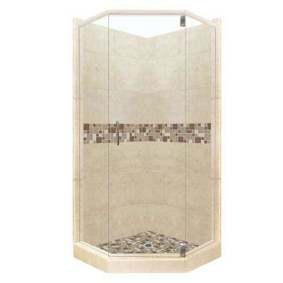 Tuscany Grand Hinged 36 in. x 42 in. x 80 in. Left-Cut Neo-Angle Shower Kit in Brown Sugar and Satin Nickel Hardware