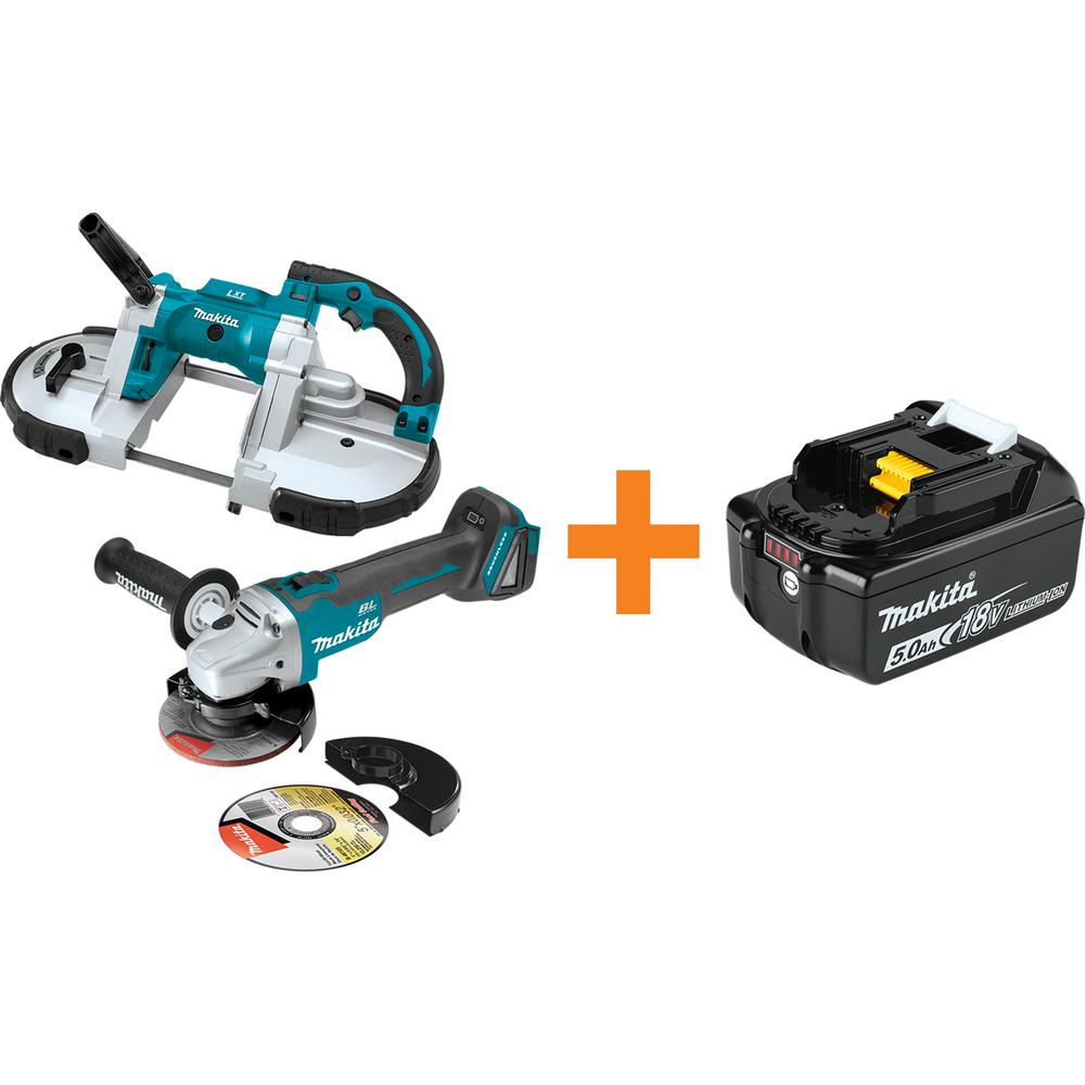 Makita 18V LXT Portable Band Saw and 18V LXT Brushless 4-1/2 in./5 in. Cut-Off/Angle Grinder with bonus 18V LXT Battery 5.0Ah