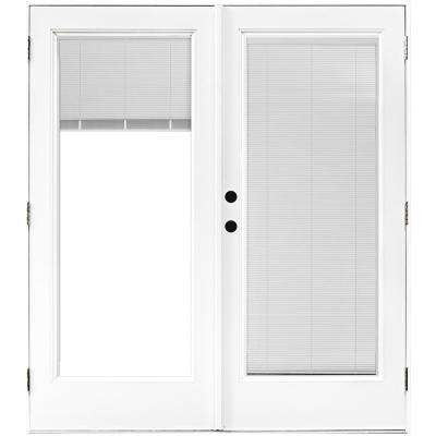 60 in. x 80 in. Fiberglass Smooth White Right-Hand Outswing Hinged Patio Door with Low E Built in Blinds