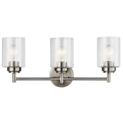 Winslow 3-Light Brushed Nickel Vanity Light with Clear Seeded Glass