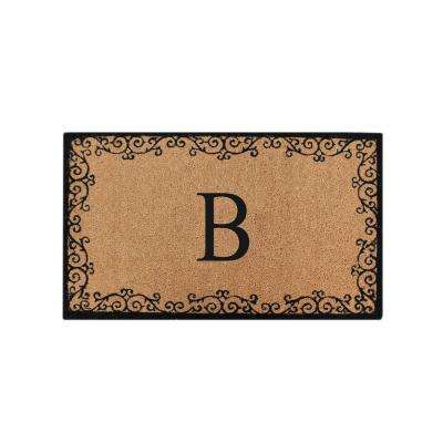 A1HC Lori Floral 24 in. x 39 in. Monogrammed B Anti Shred Treated Non Skid Door Mat