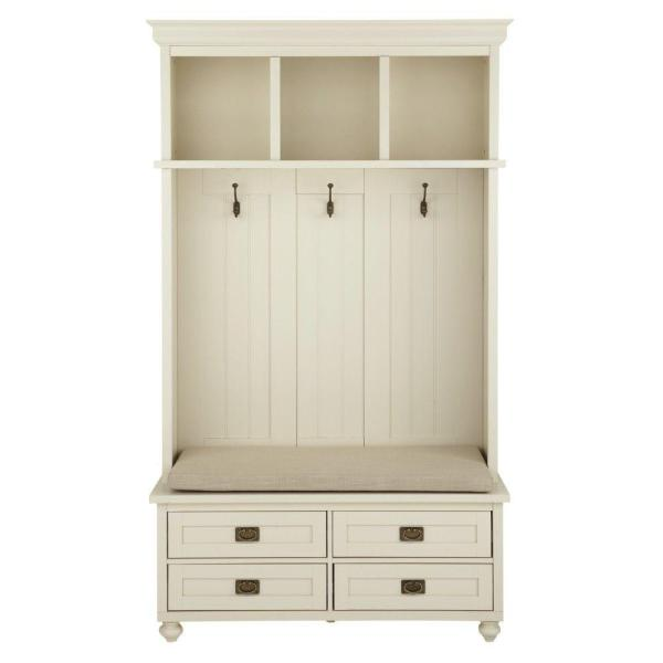 Home Decorators Collection Vernon Polar White Wooden Hall Tree With 4 Drawers