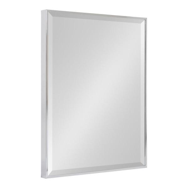 Medium Rectangle Chrome Silver Beveled Glass Contemporary Mirror (24.75 in. H x 18.75 in. W)