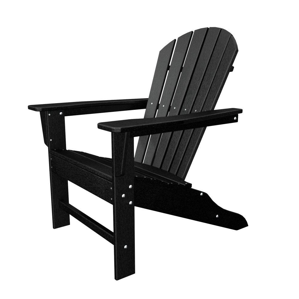 South Beach Black Plastic Patio Adirondack Chair