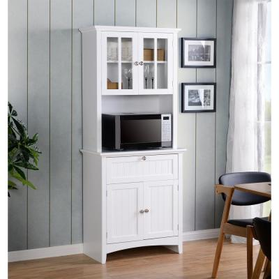 White Buffet And Hutch With Framed Gl Doors Drawer