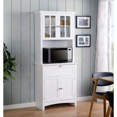 White Buffet and Hutch with Framed Glass Doors and Drawer