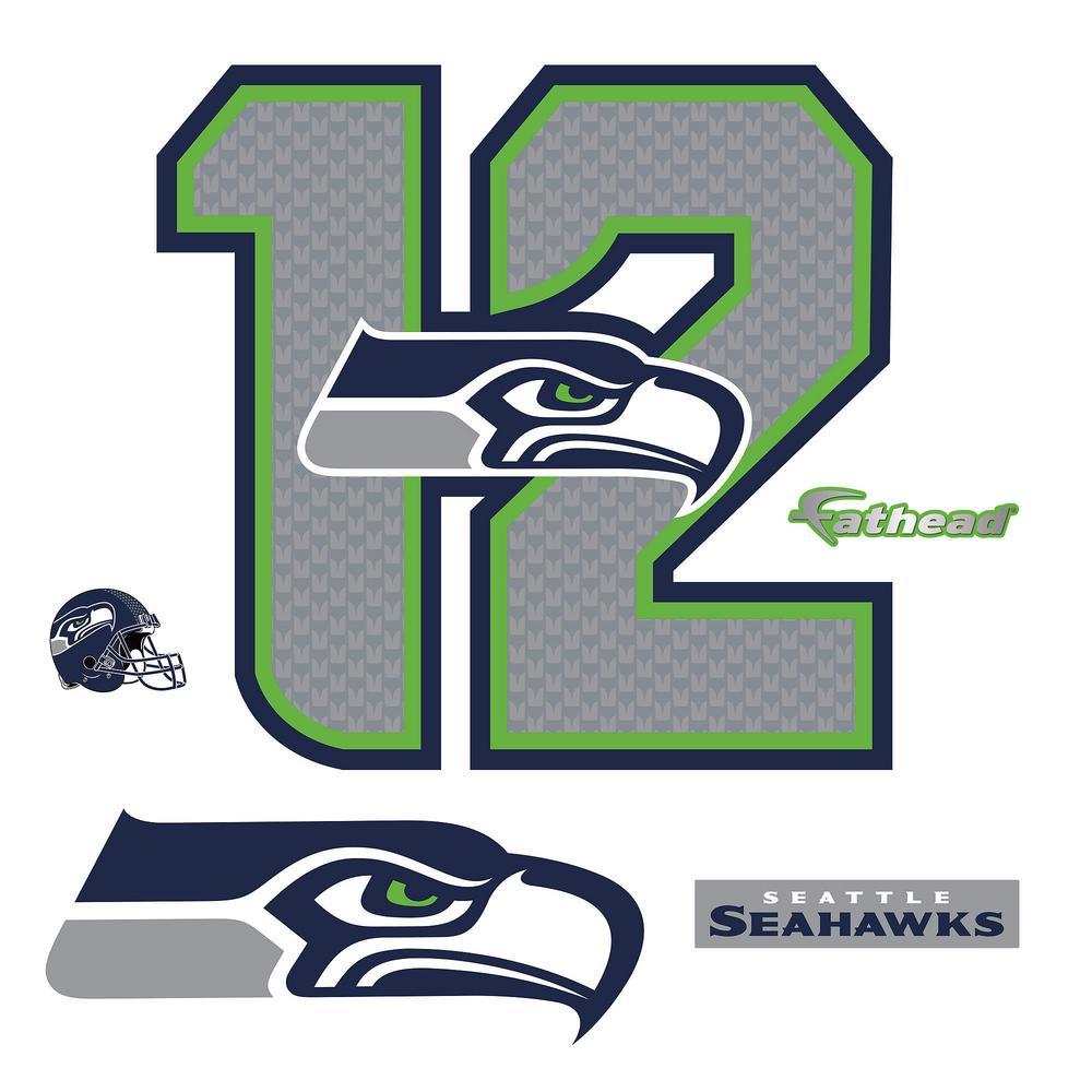 Fathead 37 in. H x 39 in. W Seattle Seahawks 12 Logo Wall...