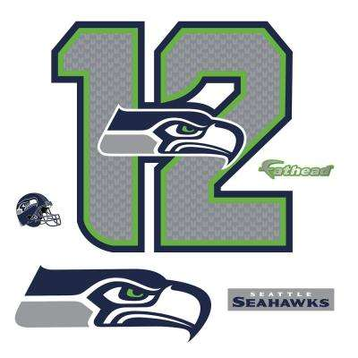 37 in. H x 39 in. W Seattle Seahawks 12 Logo Wall Mural