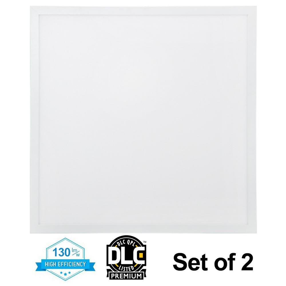 2 ft. x 2 ft. 32-Watt White Integrated LED Edge-Lit Flat Panel T-Bar Grid Recessed Troffer Light