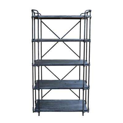 Schote Brushed Dark Gray 5-Tier Fir Wood Indoor Shelf with Pewter Iron Frame