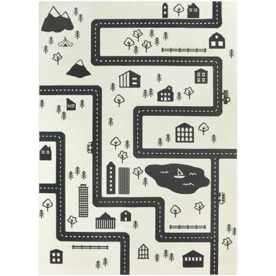 Urban Adventure Road Ivory/Black 5 ft. x 7 ft. Area Rug
