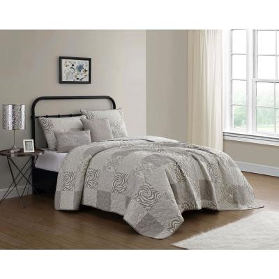 Ziva 5-Piece Taupe/Ivory Queen Animal Printed Patchwork Quilt Set