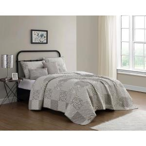 Ziva 5-Piece Taupe/Ivory Animal Printed Patchwork Queen Quilt Set