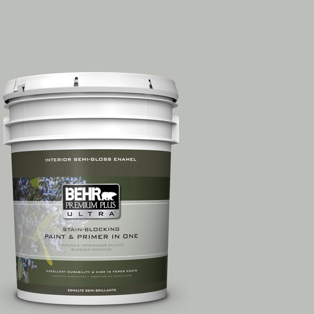 5 gal. #PPU24-17 Hailstorm Gray Semi-Gloss Enamel Interior Paint