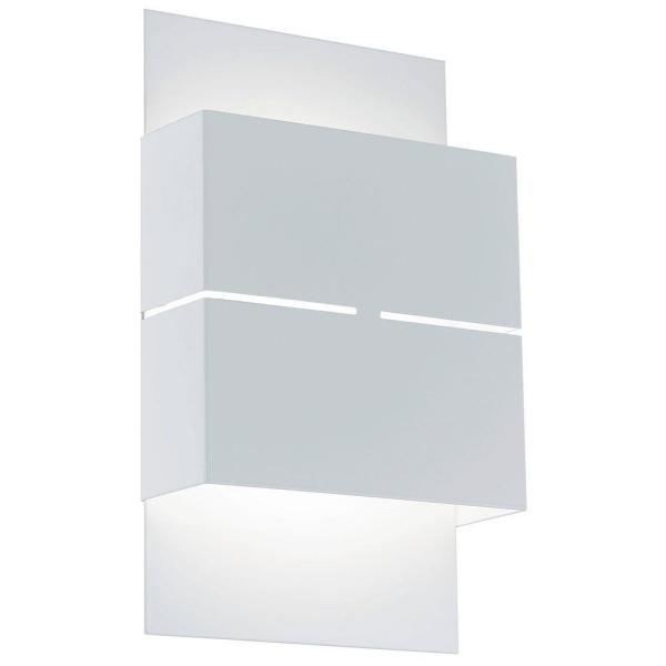 Kibea 7.125 in. W x 10.25 in. H White Outdoor Integrated LED Wall Lantern Sconce