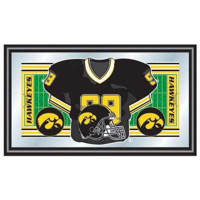 University of Iowa Football Jersey 15 in. x 26 in. Black Wood Framed Mirror