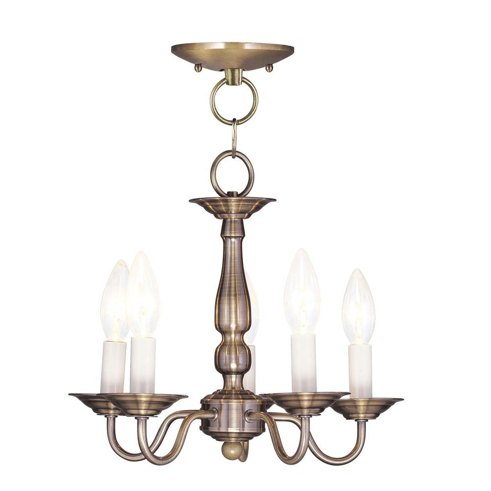 Livex Lighting 5 Light Antique Brass Chandelier