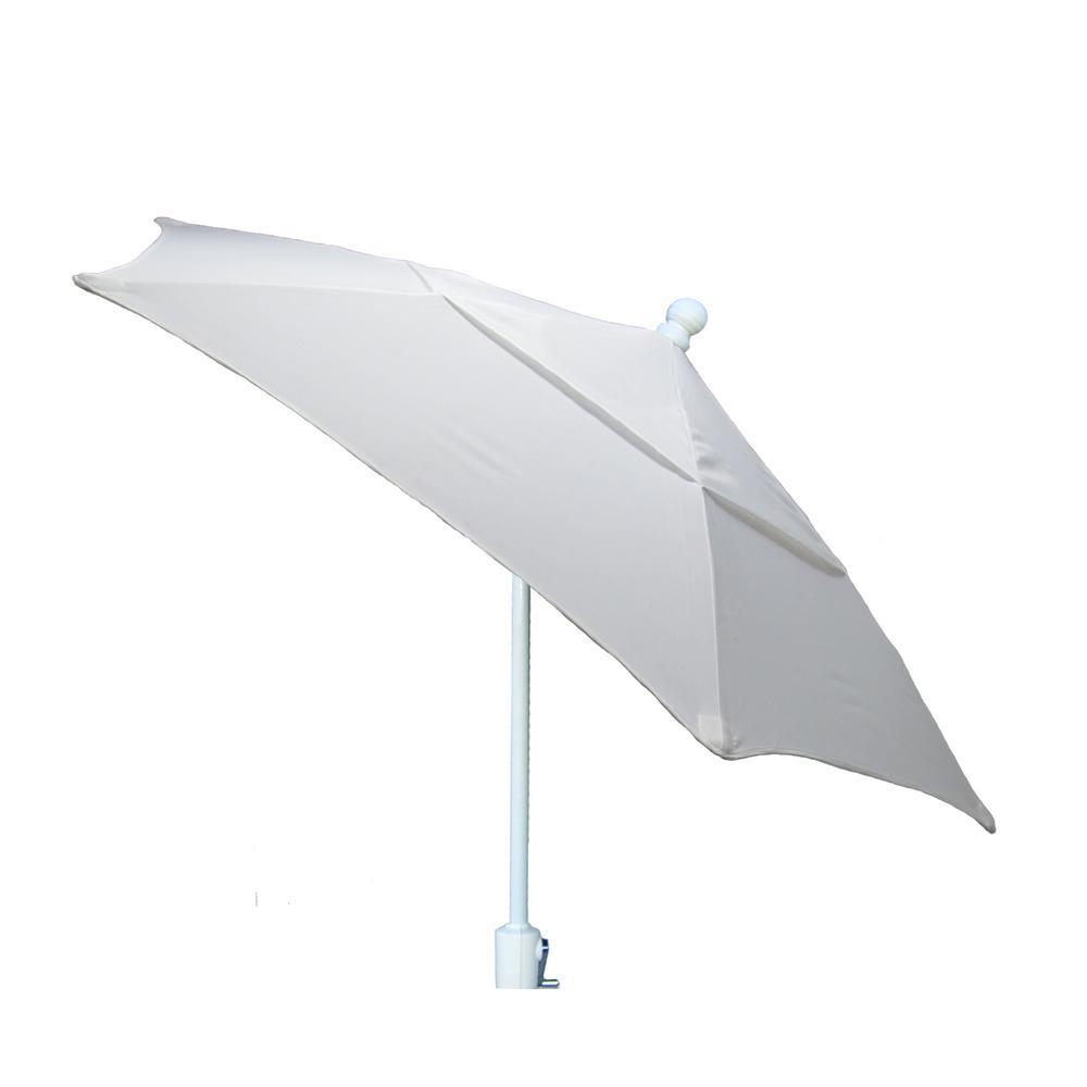 7.5 ft. White Pole Tilt Terrace Patio Umbrella  in Natural