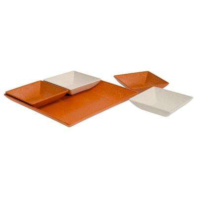 EVO Sustainable Goods Orange Eco-Friendly Wood-Plastic Composite Serving & Snack Set (Set of 5)