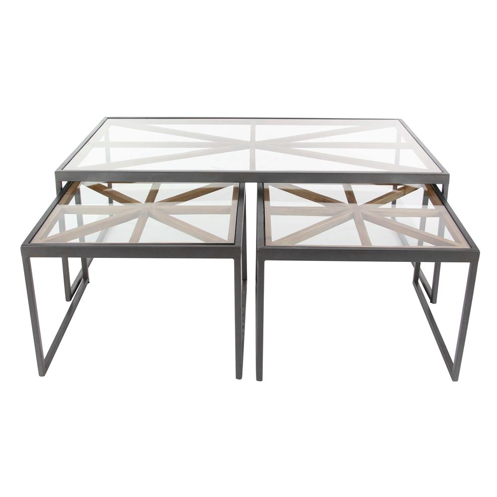 Contemporary 3-Piece Iron Glass Coffee Table Set