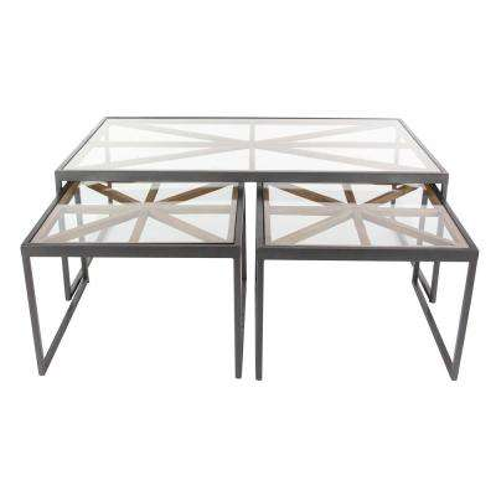 Contemporary 3-Piece Iron Glass Coffee Table Set