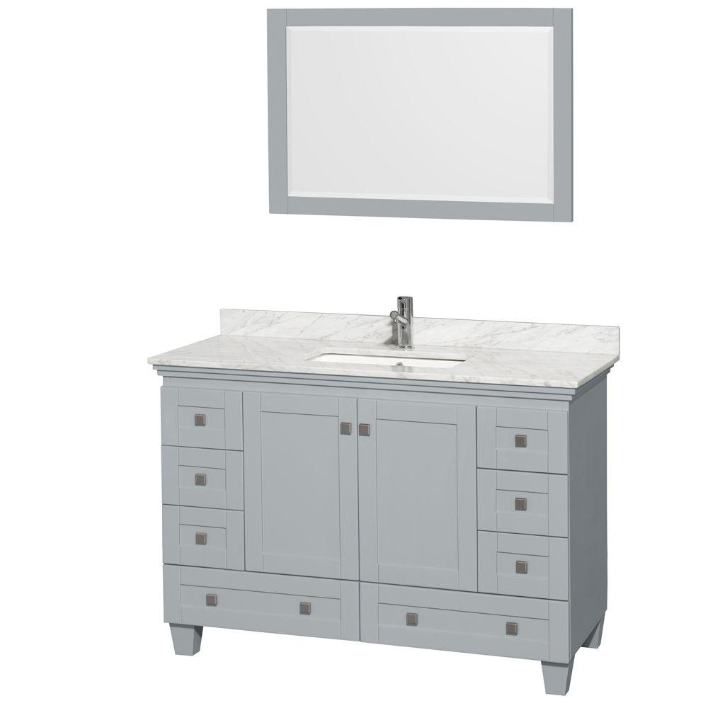 Wyndham Collection Acclaim 48 in. W x 22 in. D Vanity in Oyster Gray with Marble Vanity Top in Carrera White with White Basin and Mirror