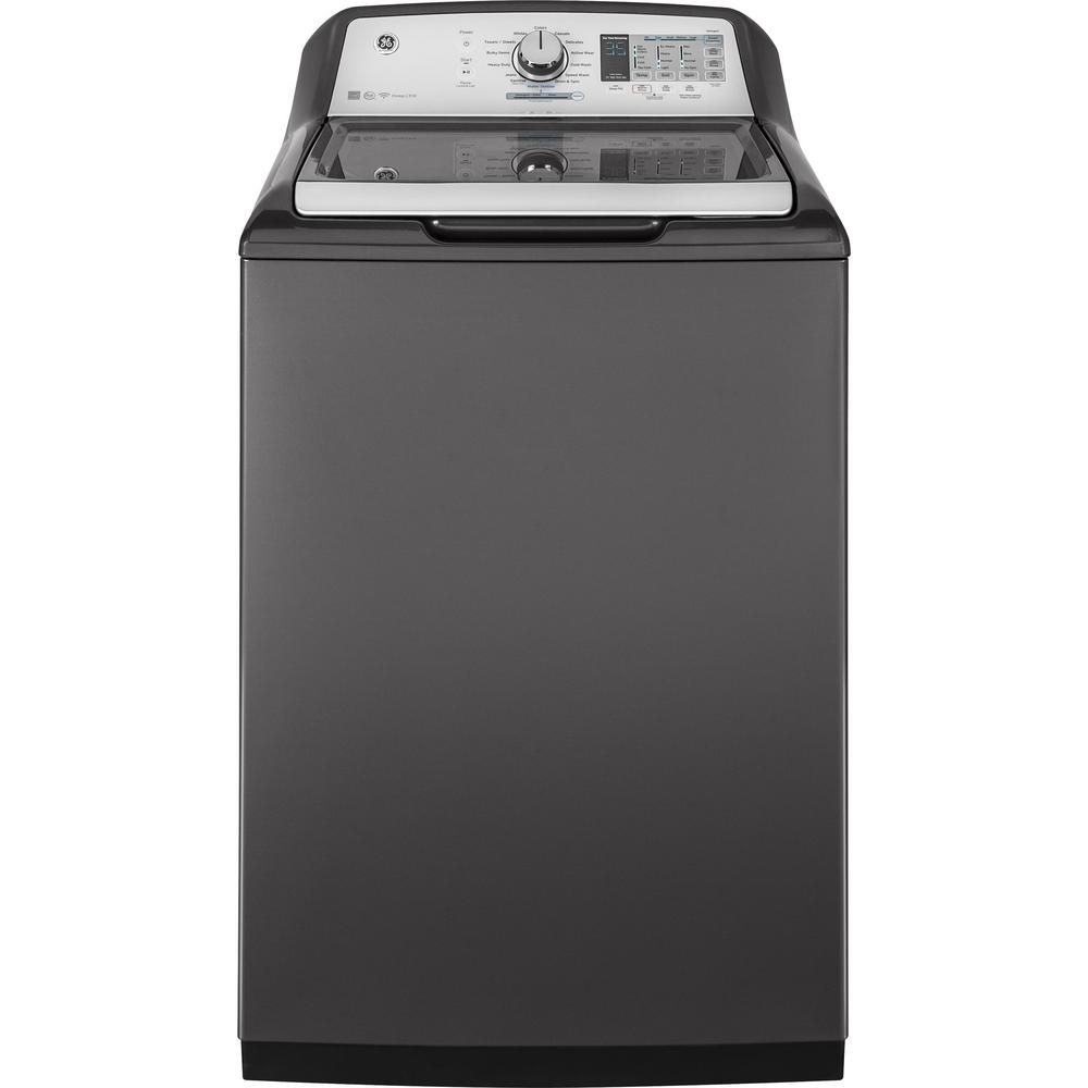 GE 5 0 cu  ft  High-Efficiency Diamond Gray Top Load Washing Machine and  Wi-Fi Connected with SmartDispense, ENERGY STAR