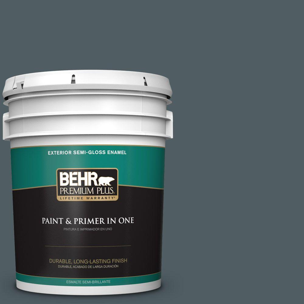 BEHR Premium Plus 5-gal. #740F-6 Marine Magic Semi-Gloss Enamel Exterior Paint