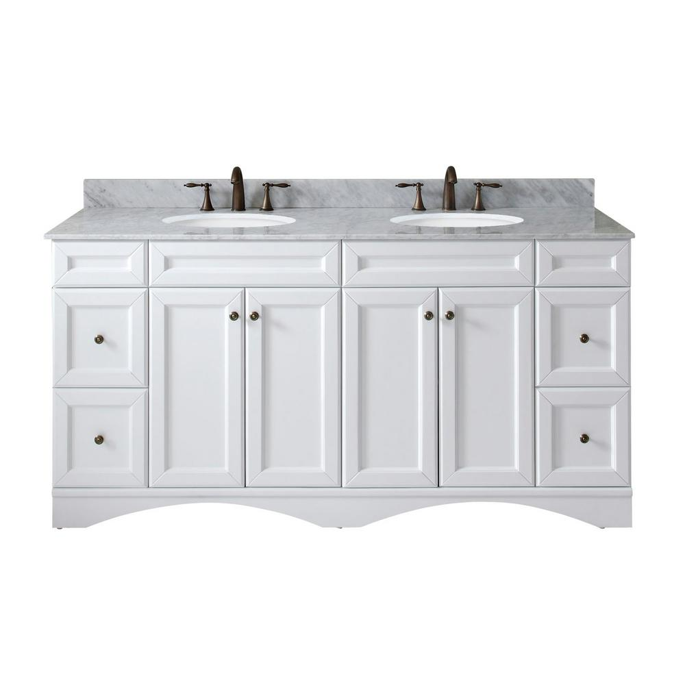 Virtu USA Talisa 72 in. W Bath Vanity in White with Marble Vanity Top in White with Round Basin