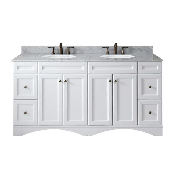 Talisa 72 in. W Bath Vanity in White with Marble Vanity Top in White with Round Basin