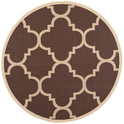 Courtyard Dark Brown 7 ft. x 7 ft. Indoor/Outdoor Round Area Rug