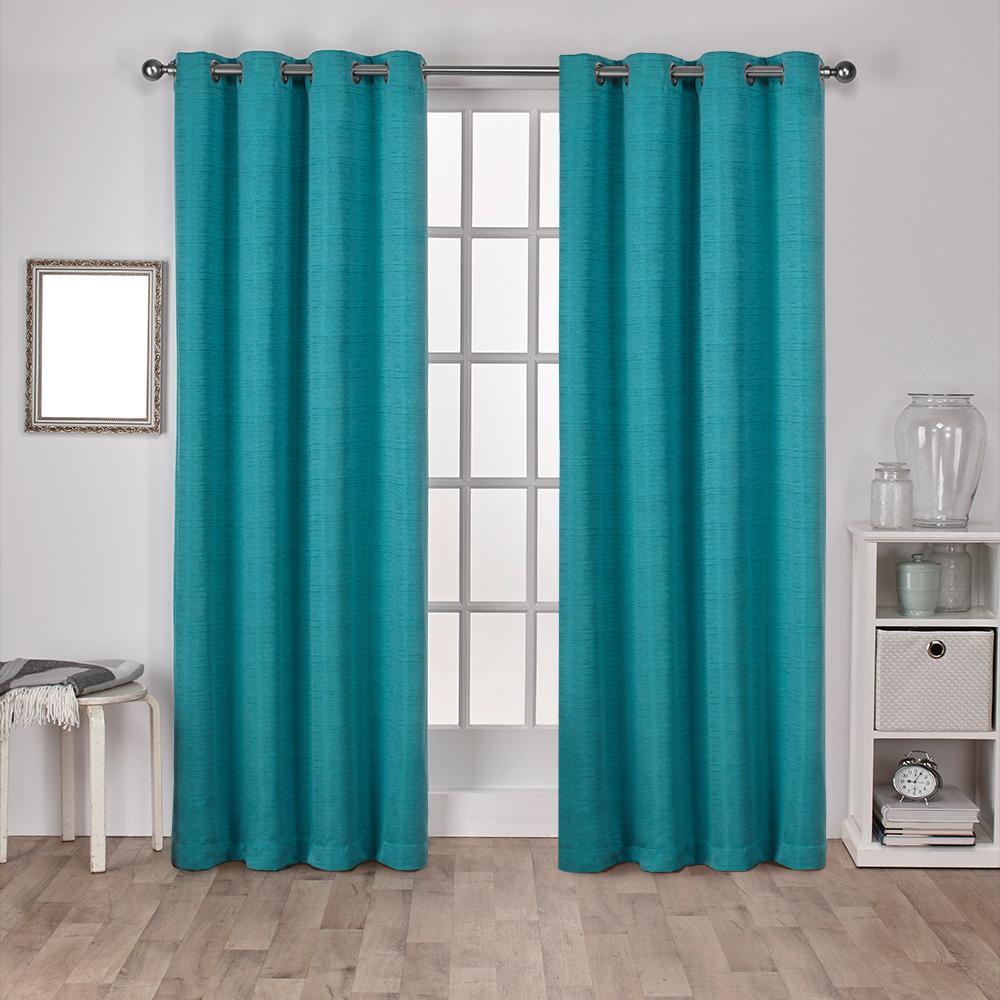 Virenze Teal Faux Silk Grommet Top Window Curtain