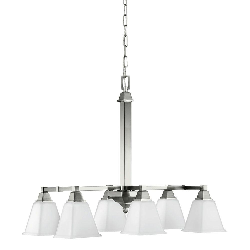 Sea Gull Lighting Denhelm 6 Light Brushed Nickel Island Billiard Pendant With Inside White
