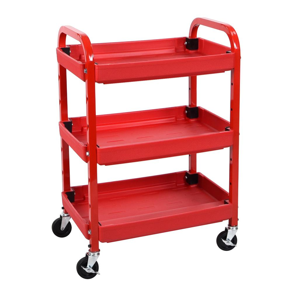 Genial 3 Shelf Adjustable Utility Cart In Red