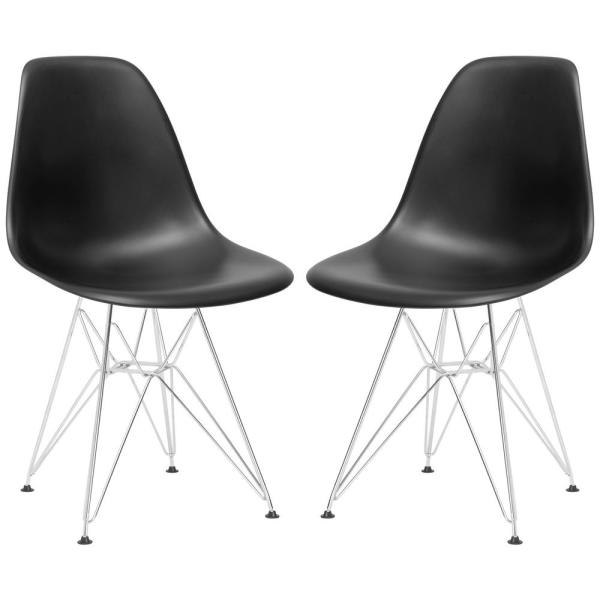 Poly and Bark Padget Black Side Chair (Set of 2) D104-CRM-BLK-X2