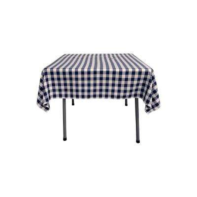 52 in. x 52 in. White and Navy Blue Polyester Gingham Checkered Square Tablecloth