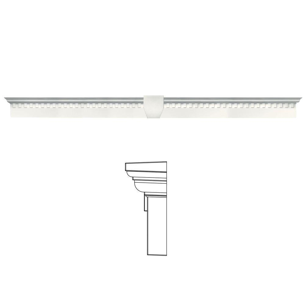 Builders Edge 6 in. x 65 5/8 in. Classic Dentil Window Header with Keystone in 123 White