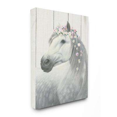 "24 in. x 30 in. ""Spirit Stallion Horse with Flower Crown"" by James Wiens Printed Canvas Wall Art"