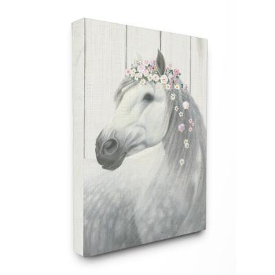 """24 in. x 30 in. """"Spirit Stallion Horse with Flower Crown"""" by James Wiens Printed Canvas Wall Art"""