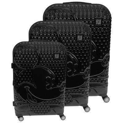 Textured Mickey Mouse Hard Sided 29 in., 25 in., and 21 in. 3-Piece Black Luggage Suitcases Set